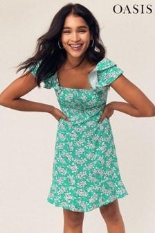 Oasis Multi Green Ditsy Print Skater Dress