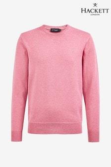 Suéter rosa en seda de algodón con cuello redondo de Hackett