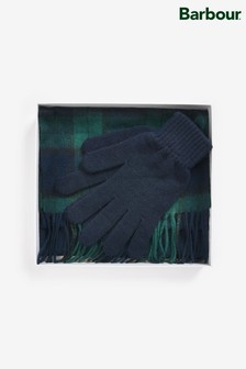 Barbour® Scarf And Glove Black Tartan Gift Set