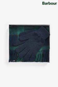 Barbour® Scarf And Glove Black Tartan Gift Set