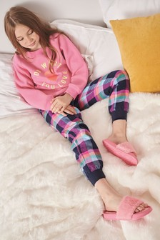 Slogan Fleece Top and Woven Bottom Pyjamas (3-16yrs)