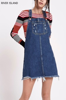 River Island Mid Wash Dungaree Dress