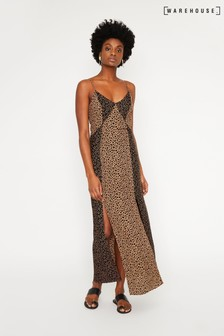Warehouse Tan Mixed Animal Print Maxi Dress