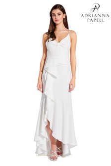 Adrianna Papell White Knit Crepe Cascade Gown
