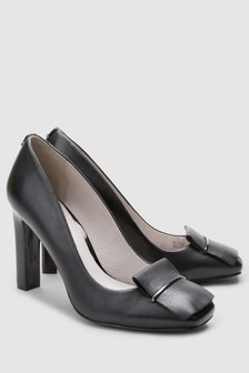 Leather Square Toe Court Shoes