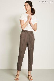 Mint Velvet Brown Tapered Paperbag Trouser