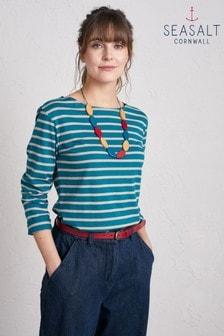 חולצה של Seasalt דגם Sailor Breton Mid Teal Parsnip בכחול