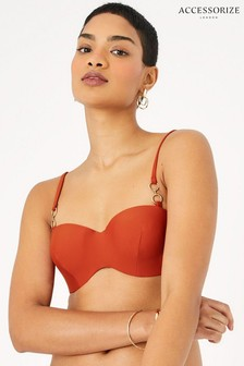 Accessorize Orange Ring Detail Moulded Bandeau Bikini Top