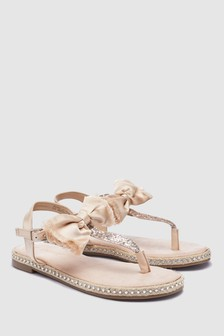 Satin Bow Toe Post Sandals (Older)