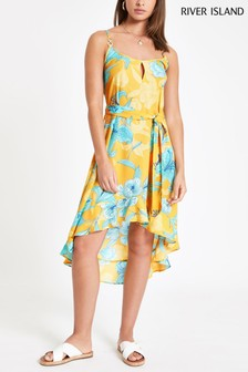 River Island Yellow Print Through Midi Dress