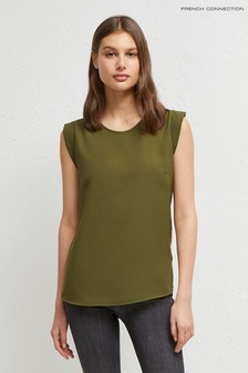 French Connection Green Crepe Light Cap Sleeve Top