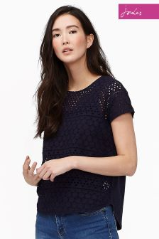 Joules Navy Broiderie Nadine Tshirt