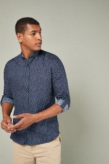 Pure Linen Floral Print Regular Fit Shirt