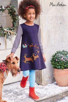 Boden Blue Festive Big Appliqué Dress