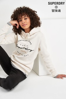 Superdry White Appliqué Hoody