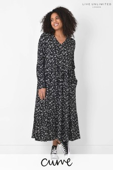 Live Unlimited Curve Black/White Ditsy Jersey Dress