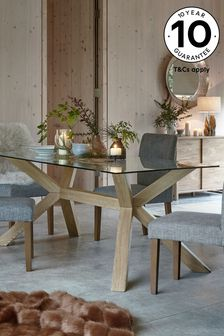 Oak And Glass Rectangle Dinning Table