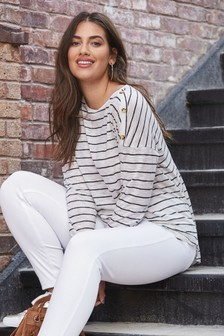 Button Shoulder Long Sleeve Stripe Top