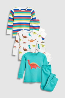 Dinosaur/Stripe Snuggle Fit Pyjamas Three Pack (9mths-8yrs)