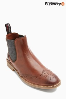 Superdry Tan Brad Brogue Chelsea Boot