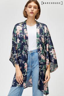 Warehouse Blue Toile De Jour Kimono