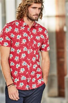 Short Sleeve Linen Blend Floral Print Shirt