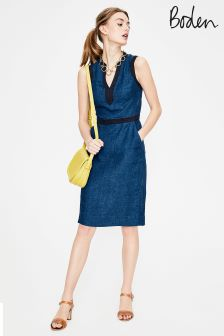 Boden Blue Linen Notch Neck Dress