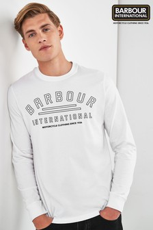 Barbour® International White Pedal Long Sleeve T-Shirt