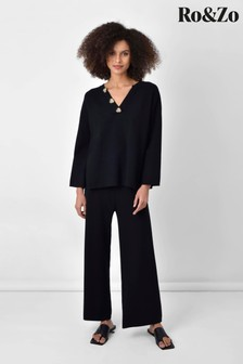 Ro&Zo Black Knitted Wide Leg Trousers