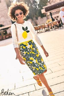 Boden Dark Sage Lemons Modern Pencil Skirt