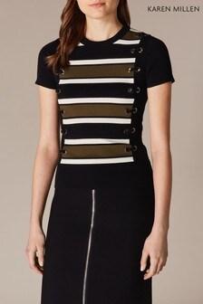 Karen Millen Black Lace-Up Detail Stripe Knit T-Shirt