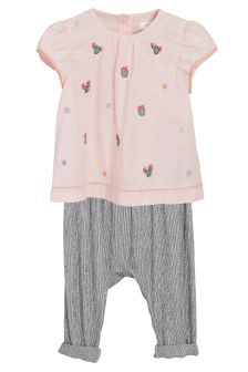 Embroidered Blouse And Trousers Set (3mths-6yrs)