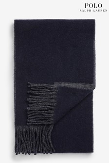 Polo Ralph Lauren Navy Grey Wool Scarf