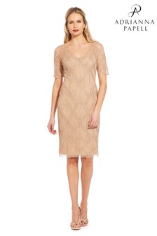 Adrianna Papell Nude Beaded Sheath Dress