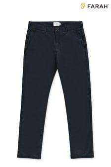 Pantalon chino Farah bleu en sergé