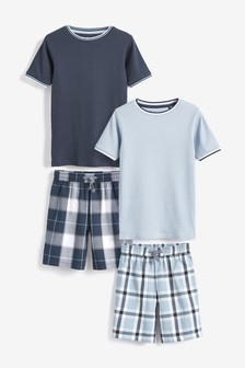 Woven Check Short Pyjamas Two Pack (3-16yrs)