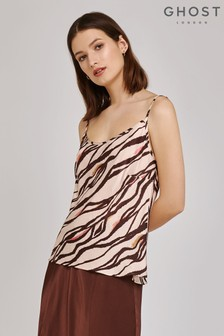 Ghost London Brown Jana Zebra Print Satin Cami