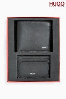 HUGO Black Wallet And Card Holder Gift Set