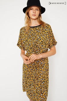 Warehouse Yellow Leopard Print Tie Front Dress