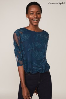 Phase Eight Blue Cerys Floral Burnout Top