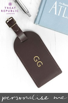 Personalised Brown Foil Leather Luggage Tag by Treat Republic