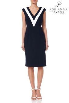 Adrianna Papell Blue Knit Crepe Colorblock Sheath Dress