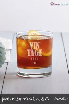 Personalised Vintage Whisky Glass by Loveabode