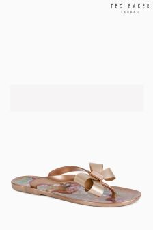 Ted Baker Susziep Rose Gold Jelly Bow Flip Flop