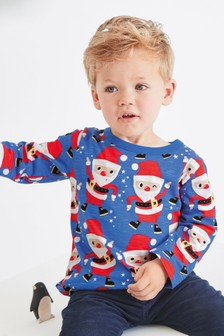 Long Sleeve Printed Dancing Santa T-Shirt (3mths-7yrs)