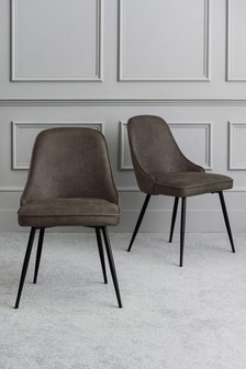 Set Of 2 Skyla Dining Chairs With Black Legs
