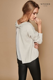 Sonder Grey Twist Back Detail Knit Jumper