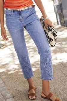 Embellished Hem Straight Jeans