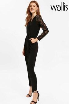 Wallis Black Sequin Lace Jumpsuit