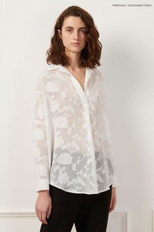 French Connection White Clarita Coupe Pop Overshirt